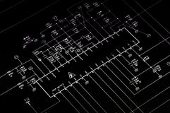 Elektrisches shematic Diagramm. stockfotos