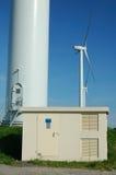 Elektrisches tranformer unten eines windturbine Stockbild