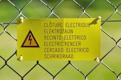 Elektrisches Zaun-Zeichen Stockfoto
