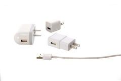 Elektrisk adapter till USB port Arkivbilder