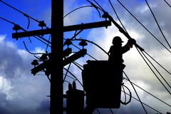 elektrisk arbetare Arkivfoto