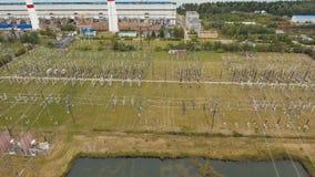 Elektrisk avdelningskontor, kraftverk flyg- sikt stock video