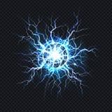 Elektrisk bristning, realistisk vektor för bollblixt royaltyfri illustrationer