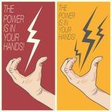 Elektrisk bult i manhand Arkivbild