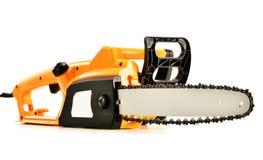 Elektrisk chainsaw på vit Fotografering för Bildbyråer