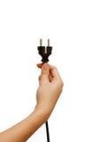 elektrisk energi som ger den saveing kvinnan för handpropp Royaltyfri Fotografi