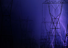 elektrisk exponering över ledningsnät Arkivbild