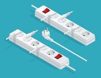 Elektrisk förlängningskabel med proppar, förlängningsledning Elektrisk förlängningskabel som isoleras på vit bakgrund stock illustrationer