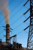 elektrisk gammal strömstation för kol royaltyfria bilder