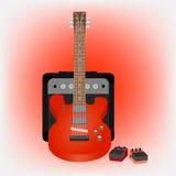 Elektrisk gitarr, ampere och pedaler Arkivbild