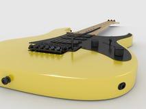 Elektrisk gitarr på vit bakgrund. Fotografering för Bildbyråer
