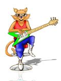 elektrisk gitarrholding för katt Fotografering för Bildbyråer