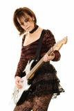 elektrisk gitarrkvinna Arkivbild