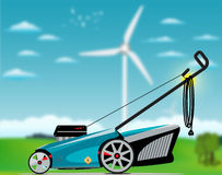 Elektrisk gräsgräsklippningsmaskin royaltyfri illustrationer