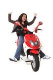elektrisk hjälm ingen ridningsparkcykelkvinna Fotografering för Bildbyråer