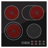 Elektrisk hob för kök med den keramiska yttersida- och handlagkontrollbordet royaltyfri foto