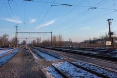 Elektrisk infrastruktur av järnvägen, Eastern Europe Royaltyfri Fotografi