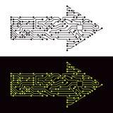 Elektrisk intrig av pilsymbolet Arkivbild