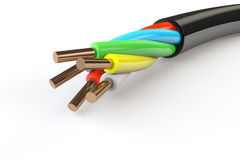 Elektrisk kabel med binder Royaltyfria Bilder