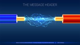 Elektrisk kabel med gnistor Horisontaldesign för presentation, affischer, räkningskonst, baner eller advertizing koppar vektor illustrationer
