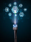Elektrisk kabel med multimediasymboler Royaltyfria Foton