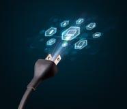 Elektrisk kabel med multimediasymboler Arkivfoto