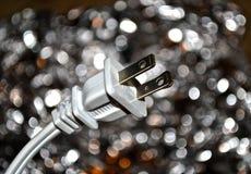 Elektrisk kabel med upplyst bakgrund - abstrakt begrepp arkivbilder