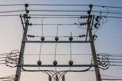 Elektrisk kabel på poler royaltyfri bild