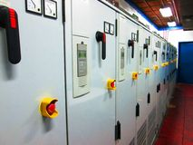 Elektrisk kontrollbord av en industriell maskin Arkivbild