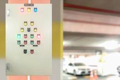 Elektrisk kontrollbord för säkerhet på zon för parkeringsgarage Royaltyfri Fotografi