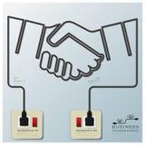 Elektrisk linje affär Infographic för handskaka royaltyfri illustrationer