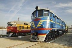 Elektrisk lokomotiv i järnväg museum Brest Vitryssland Arkivfoton