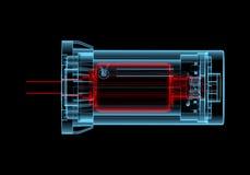 Elektrisk motor för AC (röda och blåa genomskinliga för röntgenstråle 3D) vektor illustrationer