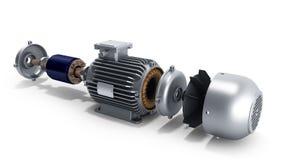 Elektrisk motor i den demonteraa statliga illustrationen 3d på en vit royaltyfri illustrationer