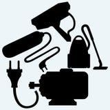 Elektrisk motor, maktsvallvåg, dammsugare och utomhus- bevakningkamera vektor illustrationer