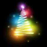 elektrisk neontree för jul stock illustrationer