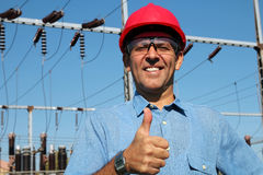 Elektrisk nytto- arbetare Royaltyfri Bild