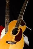 Elektrisk och akustisk gitarr Arkivbild