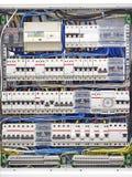 Elektrisk panel med säkringscloseupen royaltyfri foto