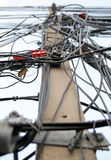 Elektrisk pol med trådar Royaltyfria Foton
