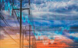Elektrisk pol och färgrikt himmelmaterieldiagram som bakgrund Med begreppet av flyktighet av materiel och energiaffärer i stock illustrationer