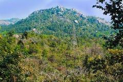 Elektrisk pol på bergskogen arkivfoton