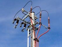 Elektrisk pol under konstruktion Royaltyfria Bilder