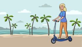 Elektrisk scooterboard för ung blond flickaridning på tropisk strandbakgrund Plan linje vektorillustration Isolerat på vektor illustrationer