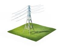 elektrisk spänning för högt torn Arkivbild