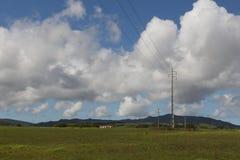 Elektrisk stolpe över grönt fält Royaltyfri Fotografi