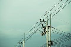 Elektrisk stolpe vid vägen med kraftledningkablar, transformatorer och telefonlinjer Royaltyfri Foto