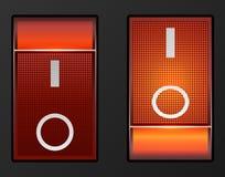 Elektrisk strömbrytare för rött ljus Arkivfoto