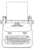 Elektrisk tappningskrivmaskin med den pappers- linjen konst Arkivfoton