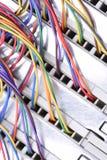 Elektrisk tråd och panel som används i telekommunikation och datornät royaltyfri bild
